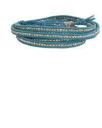 Chan Luu - Aqua Leather Silver Bead Wrap Bracelet - Lyst