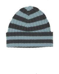 Blue & Cream - Warm-me Eric Stripe Hat Teal/navy - Lyst