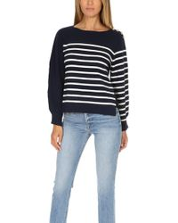 3.1 Phillip Lim - Sailor Pullover W/ Silk Back Navy Ant White - Lyst
