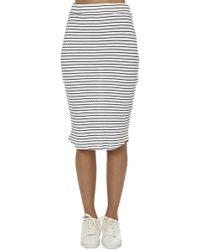 Monrow - Stripe Rib Pencil Skirt Wht - Lyst