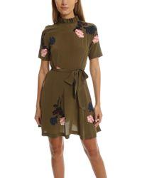 Donaldson Silk Mini Dress in Olive Ganni Buy Cheap Authentic Sale Supply Ctv1PoEE13