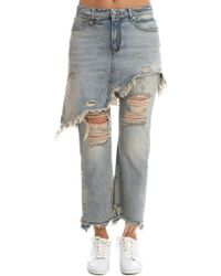 R13 - Double Classic Shredded Jeans - Lyst