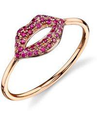 Sydney Evan - Pave Ruby Lips Ring - Lyst