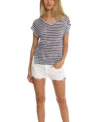 Majestic Filatures - Linen Striped V-neck Tee - Lyst