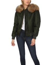 Mr & Mrs Italy - Bomber With Raccoon Fur Green/natural - Lyst