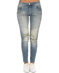 Balmain - Moto Jean Light Wash Blue Destroyed - Lyst