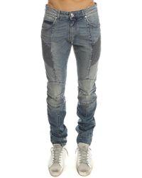 Balmain Ribbed Slim-Fit Denim Moto Jean - Blue