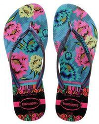 b52b15322 Havaianas - Slim Tropical Flip Flops Lavender Blue - Lyst