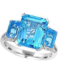 Effy - Fine Jewelry 14k 8.44 Ct. Tw. Diamond & Blue Topaz Ring - Lyst