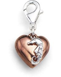 Tia Collections - 0.03ctw Diamond Charm-white Gold Seahorse On A Pink Gold Puffed Heart In .925 - Lyst