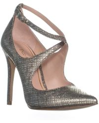 Enzo Angiolini - Finton Ankle Strap Pointed Toe Court Shoes, Gold - Lyst