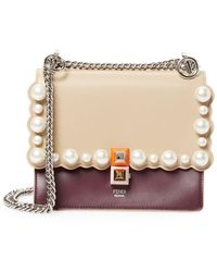 Fendi - Kan I Small Pearly-studded Leather Shoulder Bag - Lyst