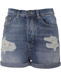 Scotch & Soda - Women's Blue Cotton Shorts - Lyst
