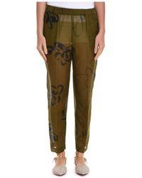 Manila Grace - Women's P596shmd490 Green Cotton Pants - Lyst
