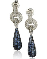 Suzy Levian | Sterling Silver Sapphire And Diamond Accent Tear Drop Dangle Earrings | Lyst