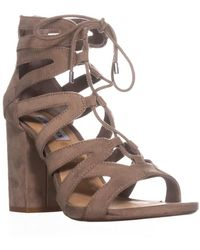 Steve Madden - Gal Lace Up Glasiator Sandals, Taupe - Lyst