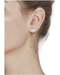 Peermont - 18k White Gold Plated Fire Opal Stud Earrings - Lyst