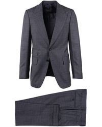Tom Ford - Mens Grey Wool Checked Peak Lapel Two Button Front Suit - Lyst