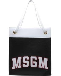 MSGM - Women's Color Block Tote Bag Black/white/red Size Osfa - Lyst