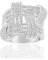 Suzy Levian - Sterling Silver Cubic Zirconia Weaving Wide Band Ring - Lyst