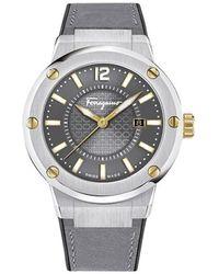 Ferragamo | F-80 Men's Smokey Grey Dial Watch, Model: Fif070016 | Lyst