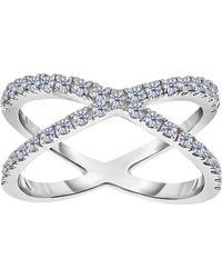 Jewelry Affairs - Sterling Silver With Cz Cross Over X Design Ring - Lyst