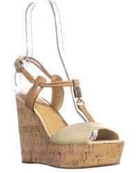 COACH - Linden Platform T-strap Sandals, Gold/natural - Lyst