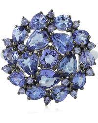 Socheec - Tanzanite Flower Ring In Silver - Lyst