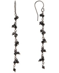 Adornia - Sterling Silver And Black Spinel Cluster Beaded Earrings - Lyst
