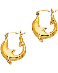 Jewelry Affairs - 14k Yellow Gold Shiny Small Dolphin Symbolic Hoop Earrings, Diameter 16mm - Lyst