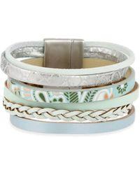 Saachi - Flower Printed Leather Bracelet - Lyst