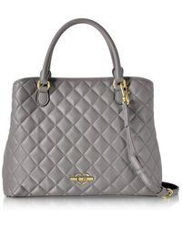 Love Moschino - Women's Grey Faux Leather Handbag - Lyst