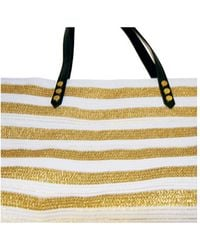 San Diego Hat Company - Women's Gold Stripe Polyester Braid Tote Bsb1558 - Lyst