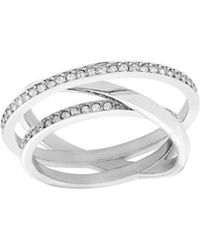 Swarovski - Crystal Plated Spiral Mini Ring - Lyst