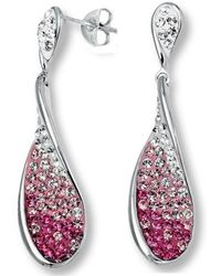 Amanda Rose Collection - Sterling Silver Tear Drop Dangle Earrings Made With Pink And White Swarovski Crystals - Lyst