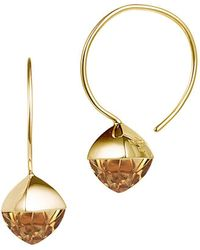 Jewelista - Pyramid Cabochon Citrine Wire Earrings - Lyst