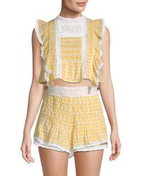 Free People - Tessa Lace-trimmed Cotton Set - Lyst