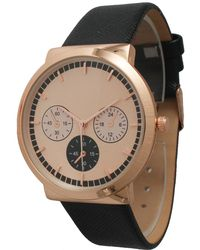 Olivia Pratt - Rose Gold Decorative Chronograph Leather Strap Watch - Lyst