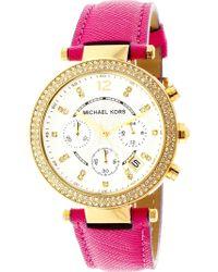 f9b7d6077165 Michael Kors - Women s Parker Mk2297 Pink Leather Japanese Quartz Fashion  Watch - Lyst