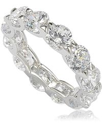 Suzy Levian - Sterling Silver Cubic Zirconia Round U-shape Eternity Band - White - Lyst