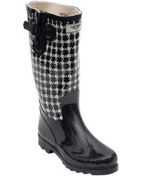 Forever Young - Women's Tall Rubber Two Tone Black And White Rain Boots - Lyst