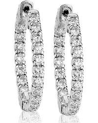 Suzy Levian - 14k Gold 2.00ct Tdw Inside Out Diamond Hoop Earrings - Lyst