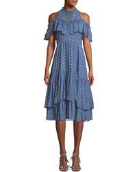 Rebecca Taylor - Cold-shoulder Clip Dot Dress - Lyst