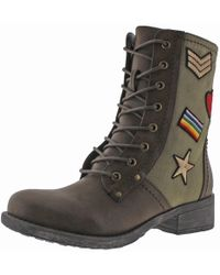 MIA - Womens Nate Faux Leather Mixed Media Combat Boots - Lyst