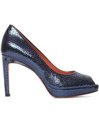 Santoni - Women's Blue Leather Pumps - Lyst