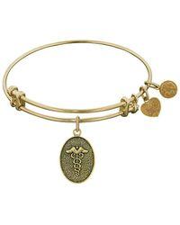 Angelica - Stipple Finish Brass Caduceus Bangle Bracelet, 7.25 - Lyst