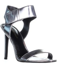 Enzo Angiolini - Brodee Bold Ankle Strap Sandals, Silver - Lyst