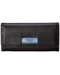 Prada - Etiquette Leather Continental Wallet - Lyst