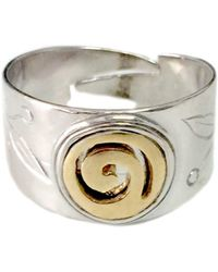 Jewelry Affairs - Sterling Silver And Gold Plated Spira Adjustable Ring - Lyst