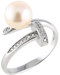 Splendid - Nail Shaped Sterling Silver Cz And Pearl Ring - Lyst